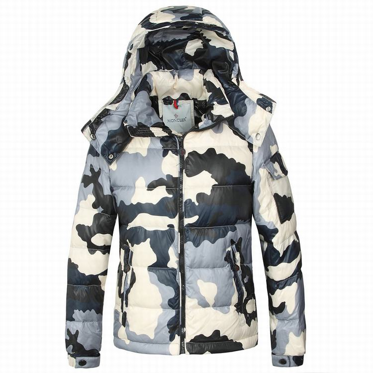 Moncler Camouflage Men Coats Grey White