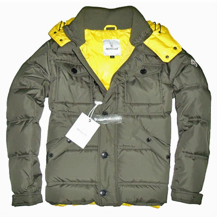 Moncler Rentilly Men Coats Light Army Green Yellow