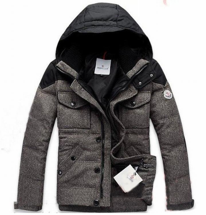 Moncler Republique 02 Men Coats Grey Red