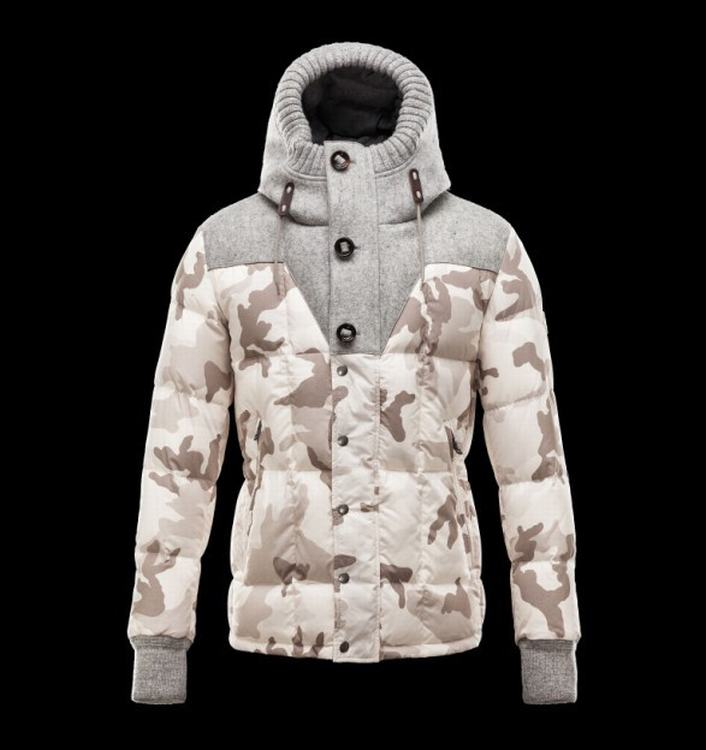 Moncler Beaumont Men Coats Grey White