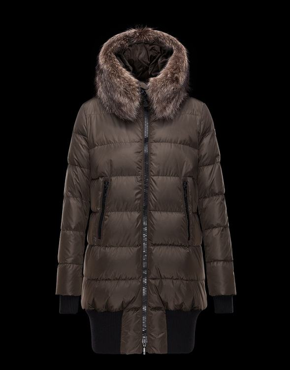 Moncler Anglas Women Coats Brown