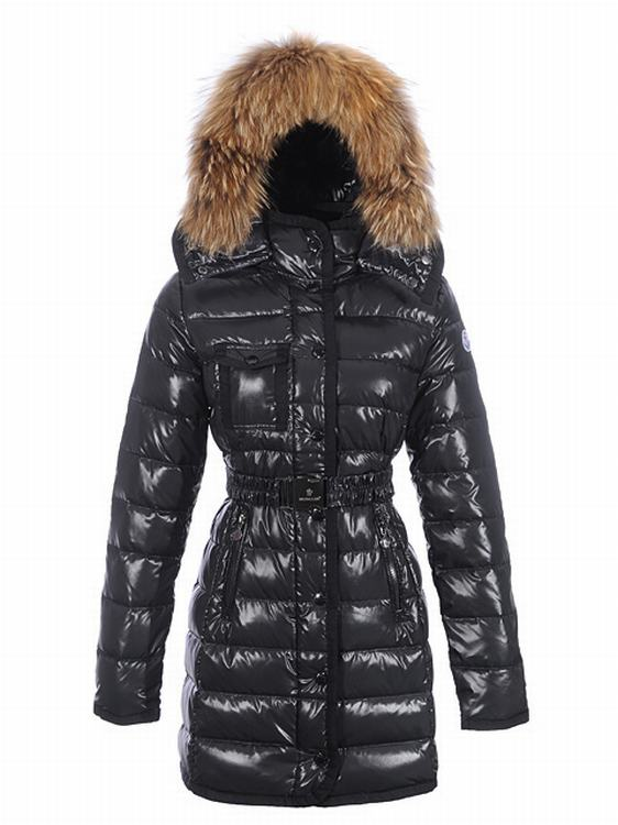 Moncler Armoise Long Women Coats Dark Blue