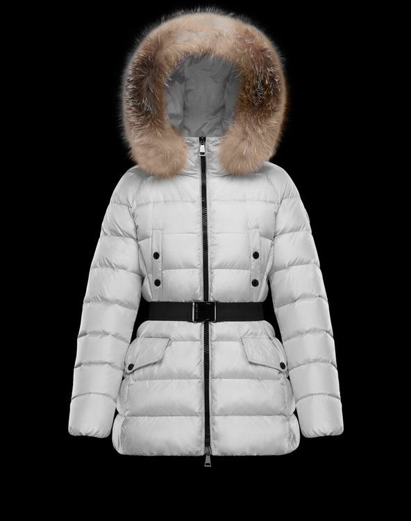 Moncler CLION Women Outerwear With Fur Collar White
