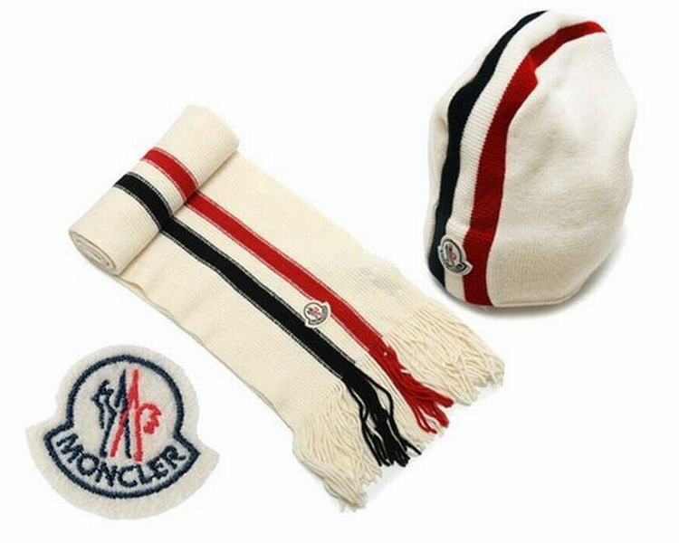 Moncler Unisex Scarfs and Hats White